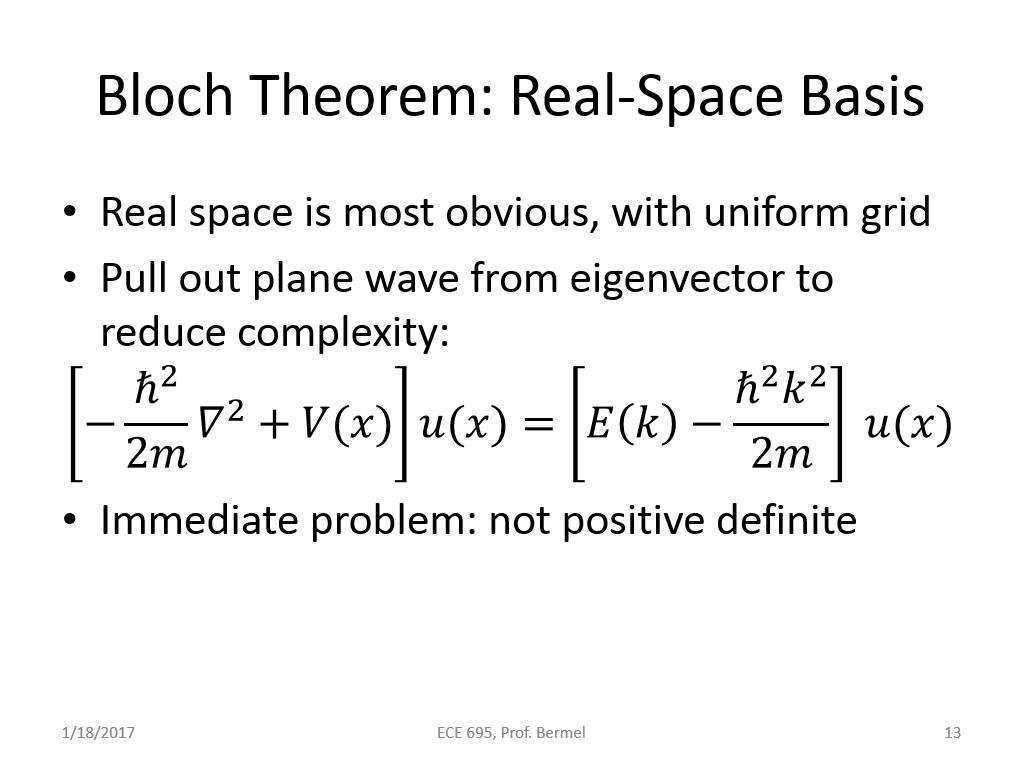Bloch Theorem: Real-Space Basis