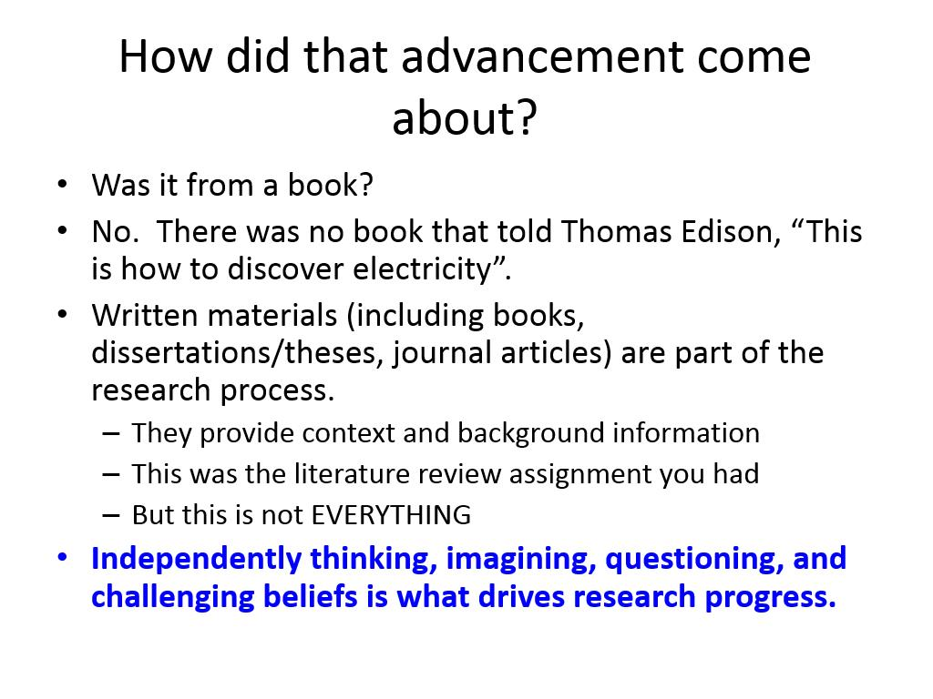 How did that advancement come about?