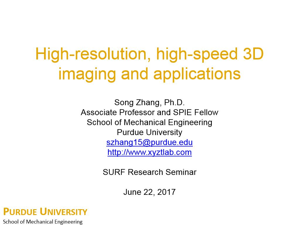 High-resolution, high-speed 3D imaging and applications