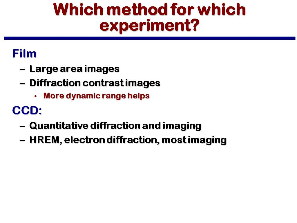 Which method for which experiment?