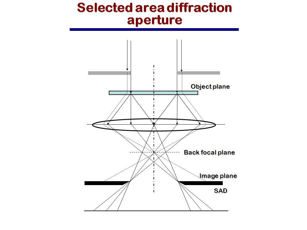 Selected area diffraction aperture