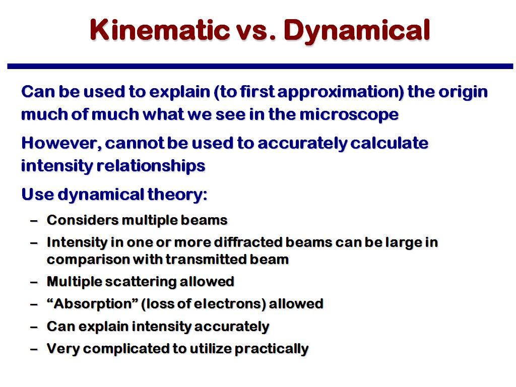 Kinematic vs. Dynamical