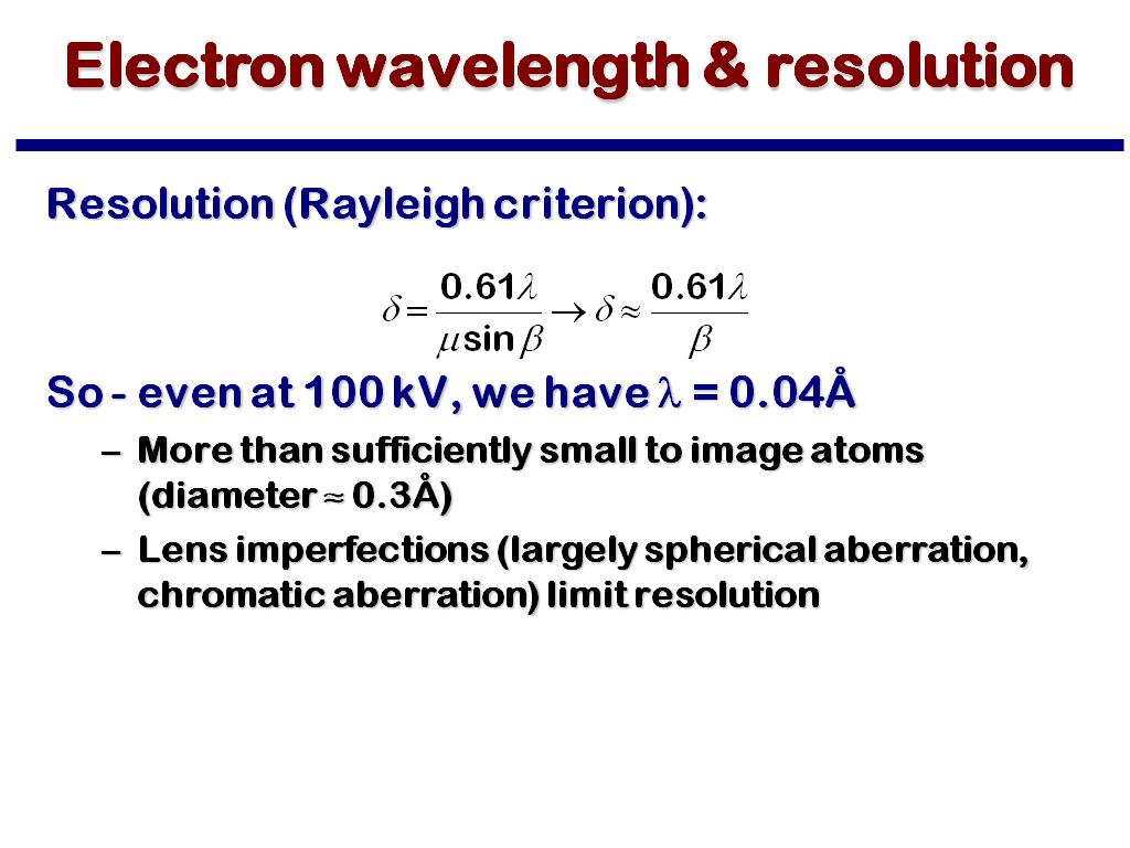 Electron wavelength & resolution
