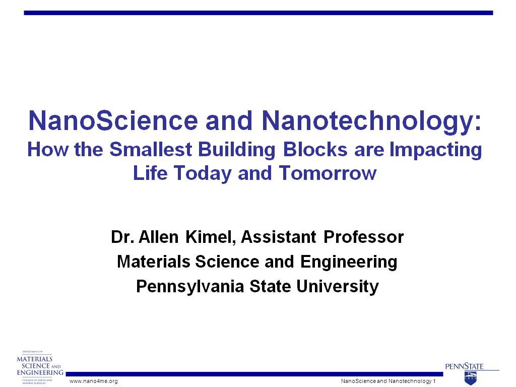 nanoHUB org - Resources: NanoScience and Nanotechnology: How