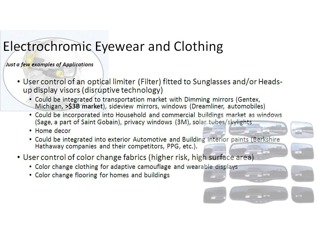Electrochromic Eyewear and Clothing