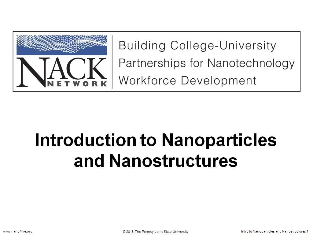 Introduction to Nanoparticles and Nanostructures