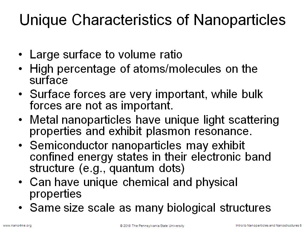 Unique Characteristics of Nanoparticles