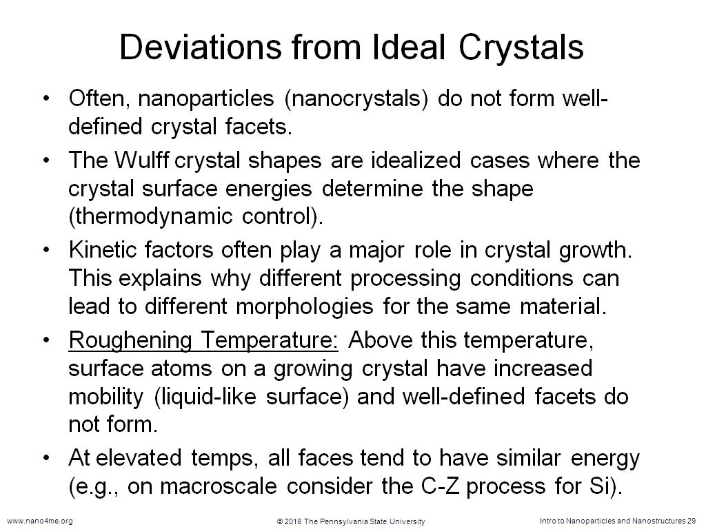 Deviations from Ideal Crystals