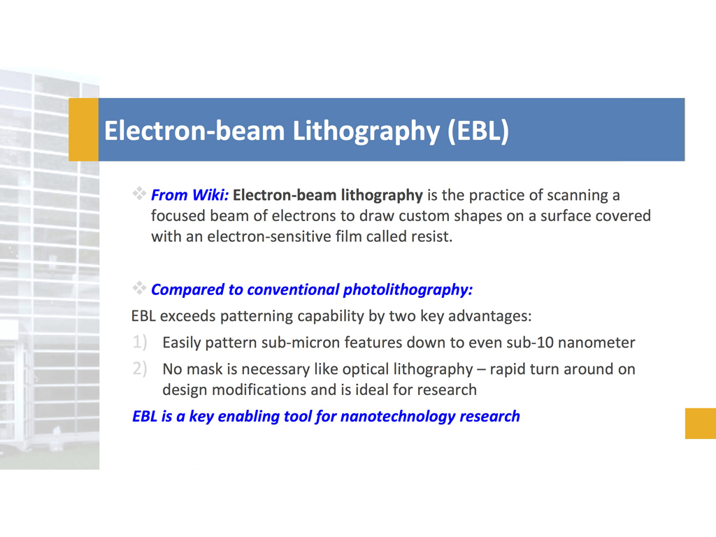 nanoHUB org - Resources: Electron-beam Lithography at Birck