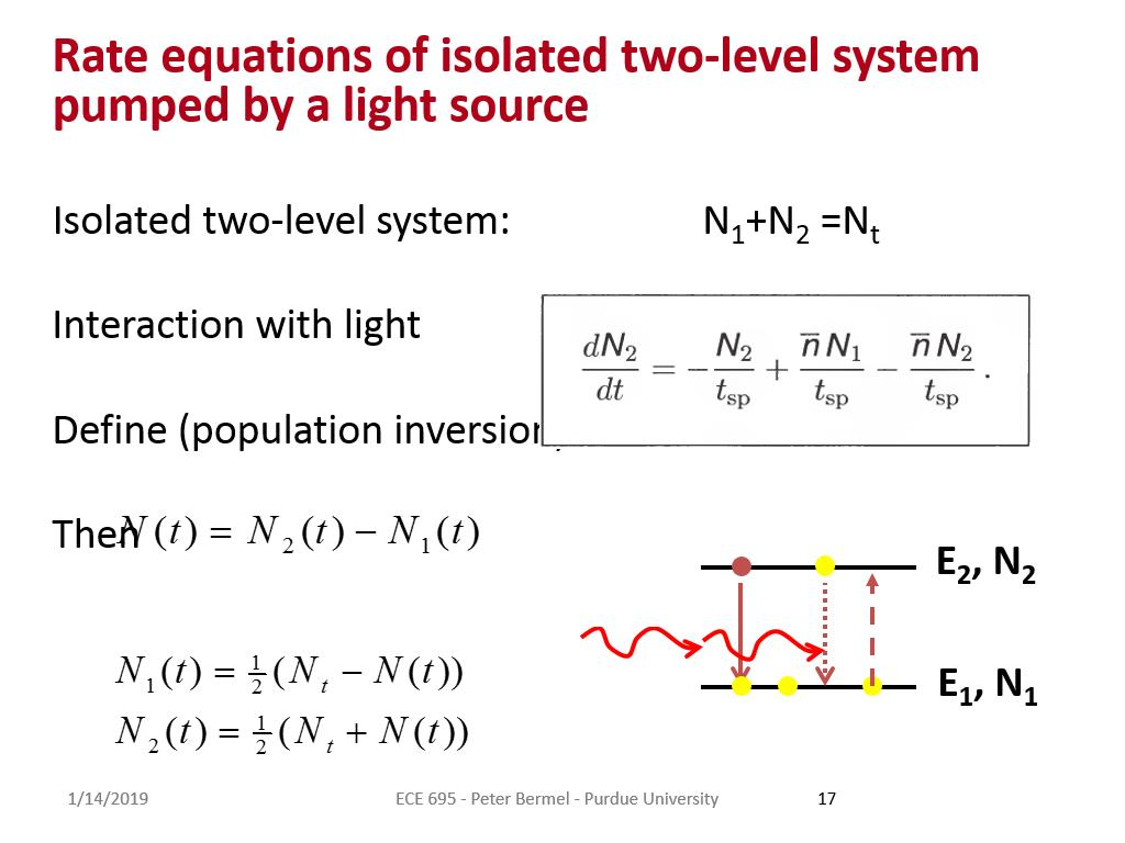 Rate equations of isolated two-level system