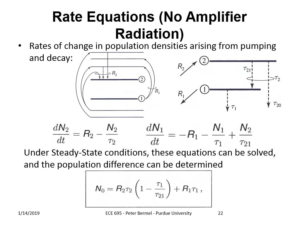 Rate Equations (No Amplifier Radiation)
