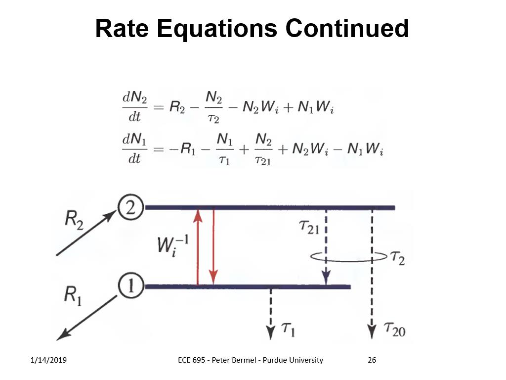 Rate Equations Continued