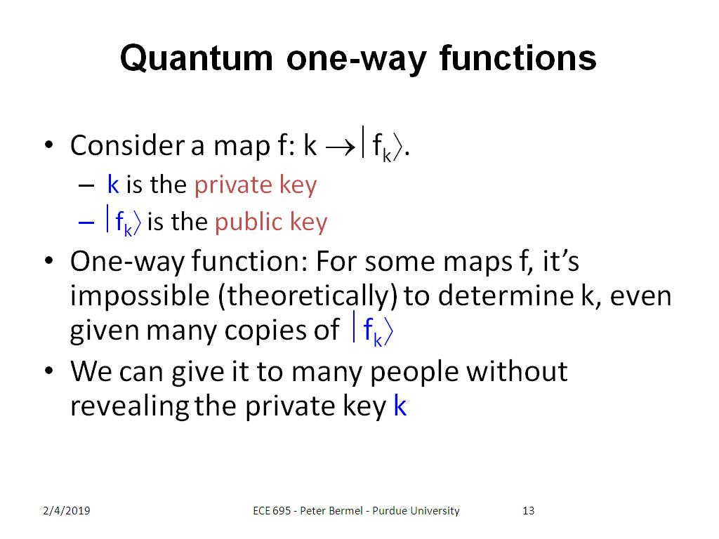Quantum one-way functions
