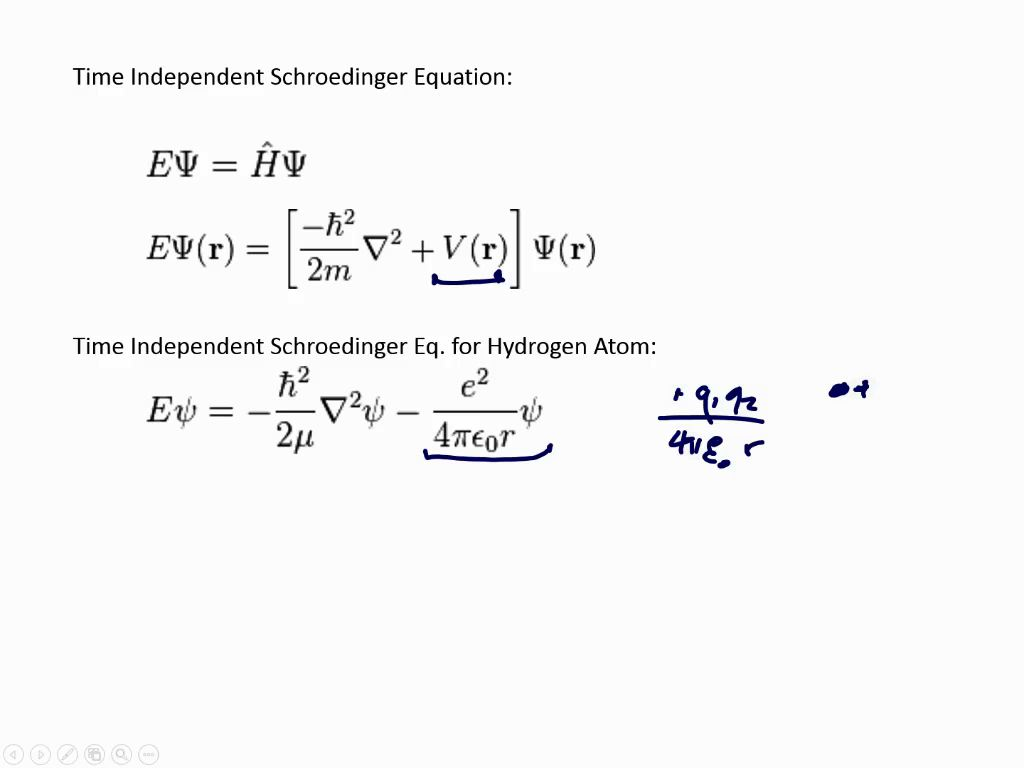 Time Independent Schroedinger Equation: