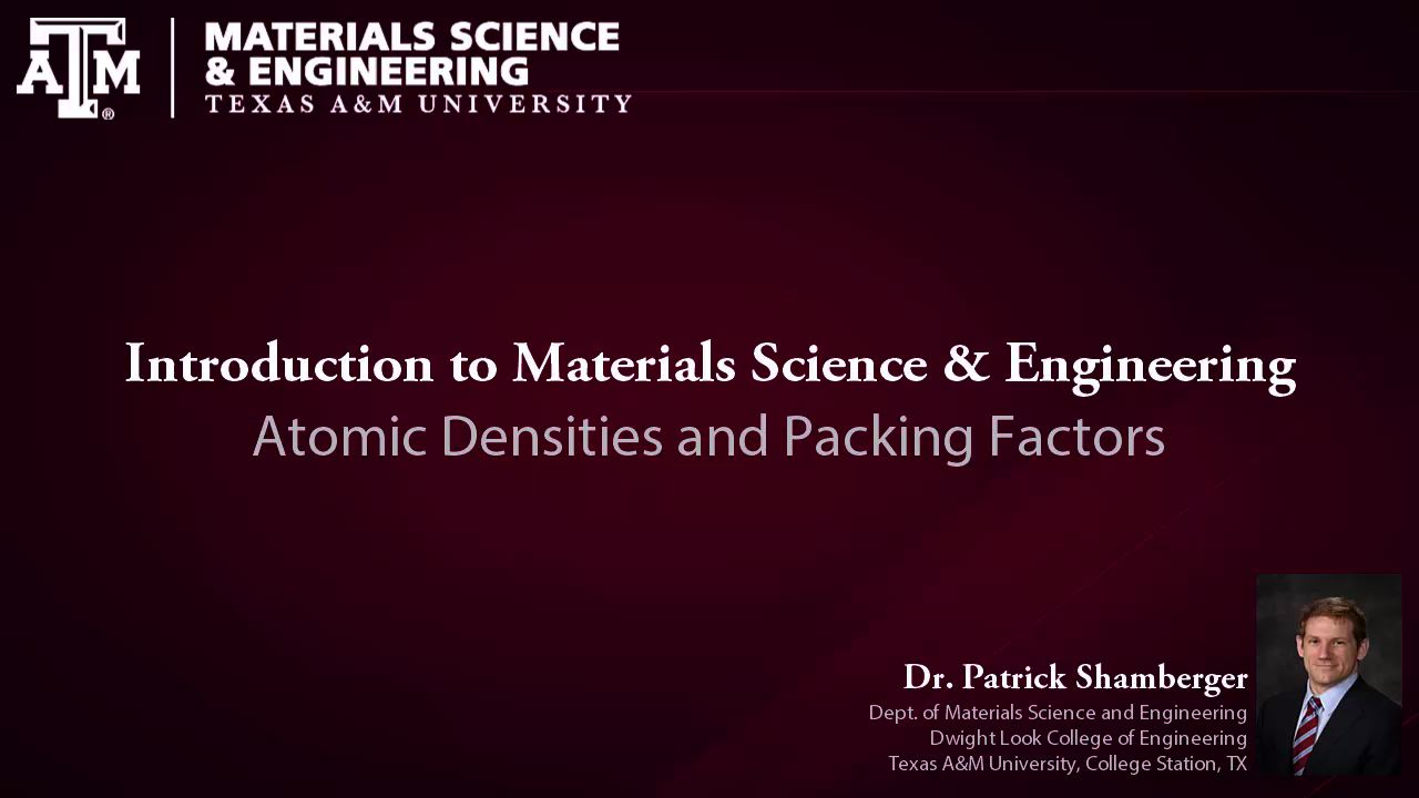 L4.1 Atomic Densities and Packing Factors