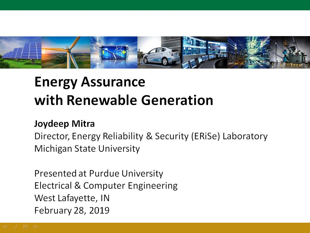 Energy Assurance with Renewable Generation