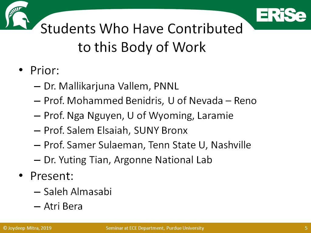 Students Who Have Contributed to this Body of Work