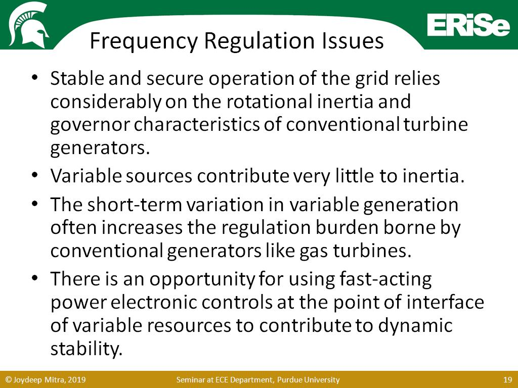 Frequency Regulation Issues