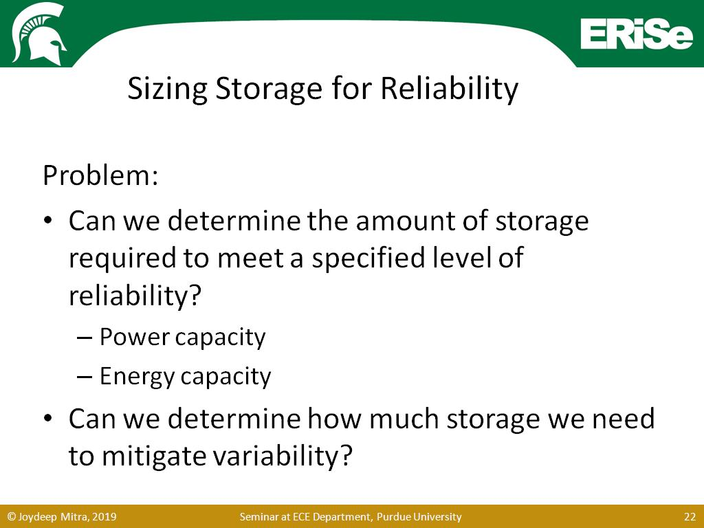 Sizing Storage for Reliability