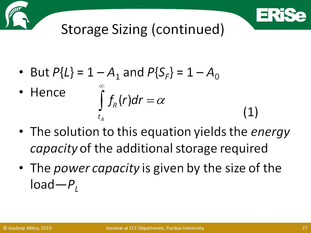 Storage Sizing (continued)