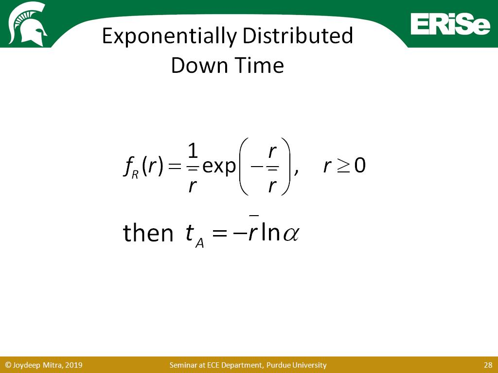 Exponentially Distributed Down Time