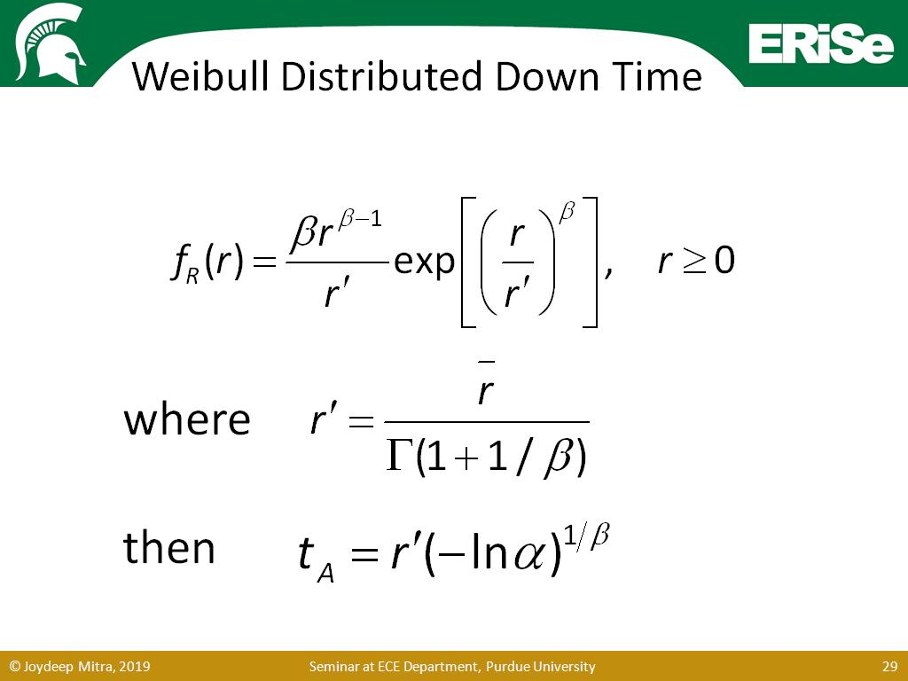 Weibull Distributed Down Time