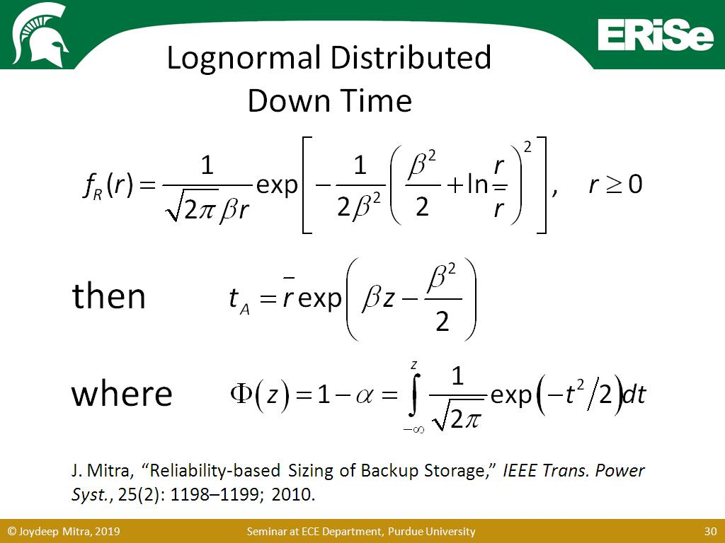 Lognormal Distributed Down Time