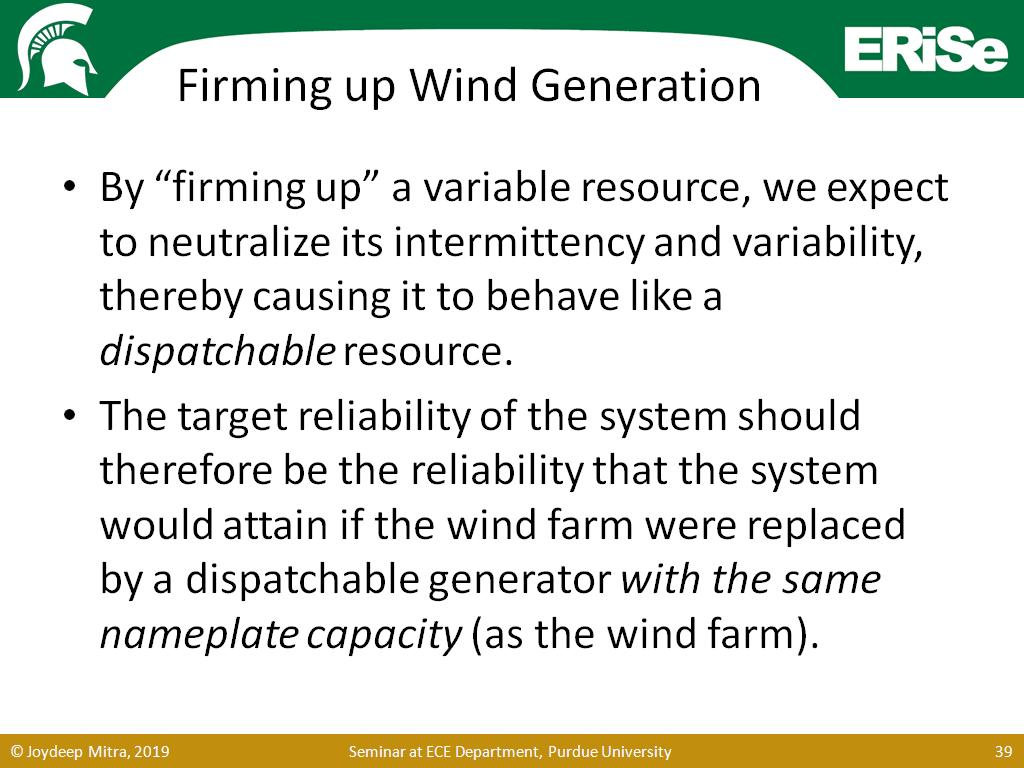 Firming up Wind Generation