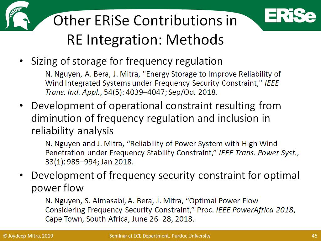 Other ERiSe Contributions in RE Integration: Methods