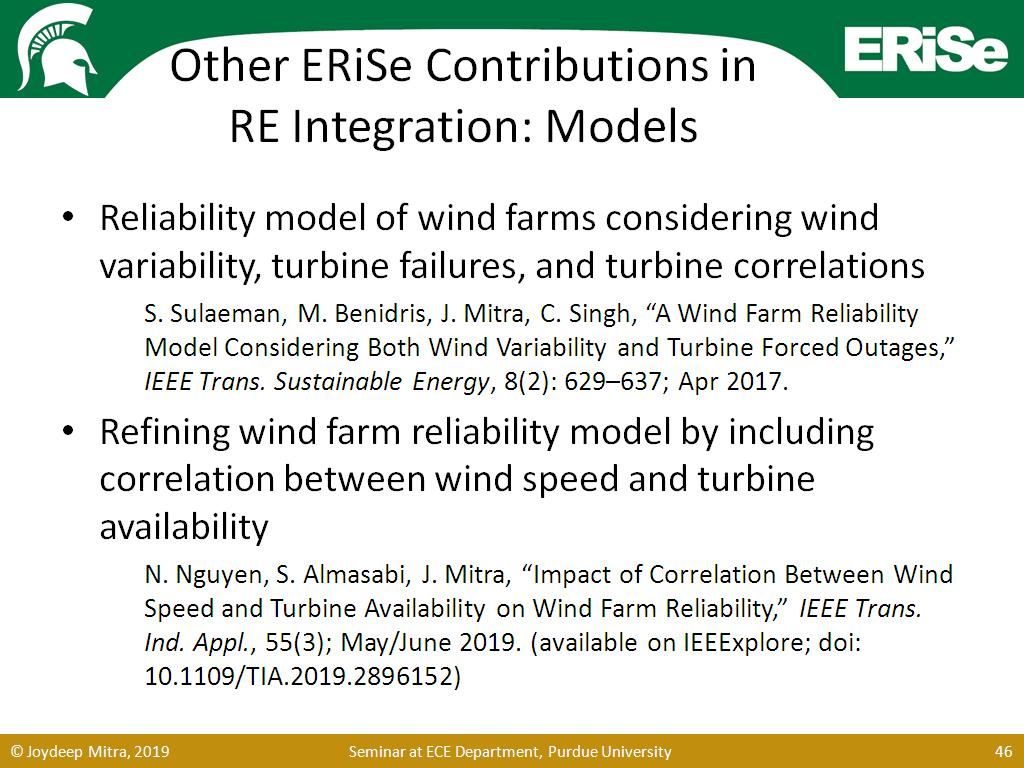 Other ERiSe Contributions in RE Integration: Models