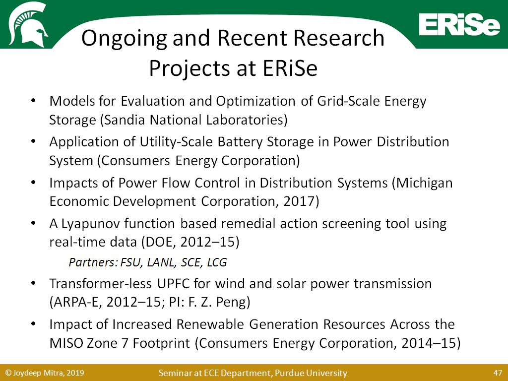 Ongoing and Recent Research Projects at ERiSe