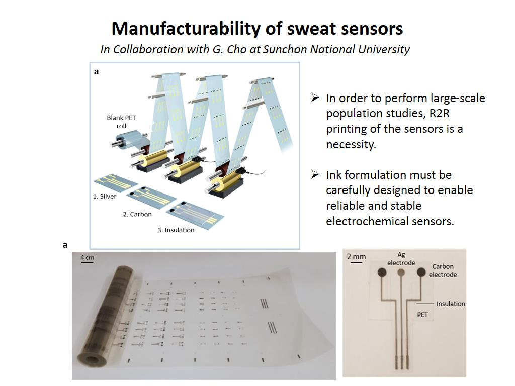 Manufacturability of sweat sensors