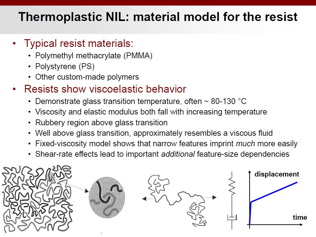 Thermoplastic NIL: material model for the resist