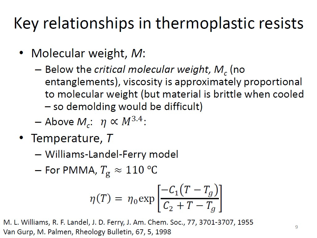 Key relationships in thermoplatic resists