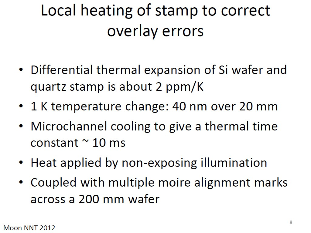 Local heating of stamp to correct overlay errors