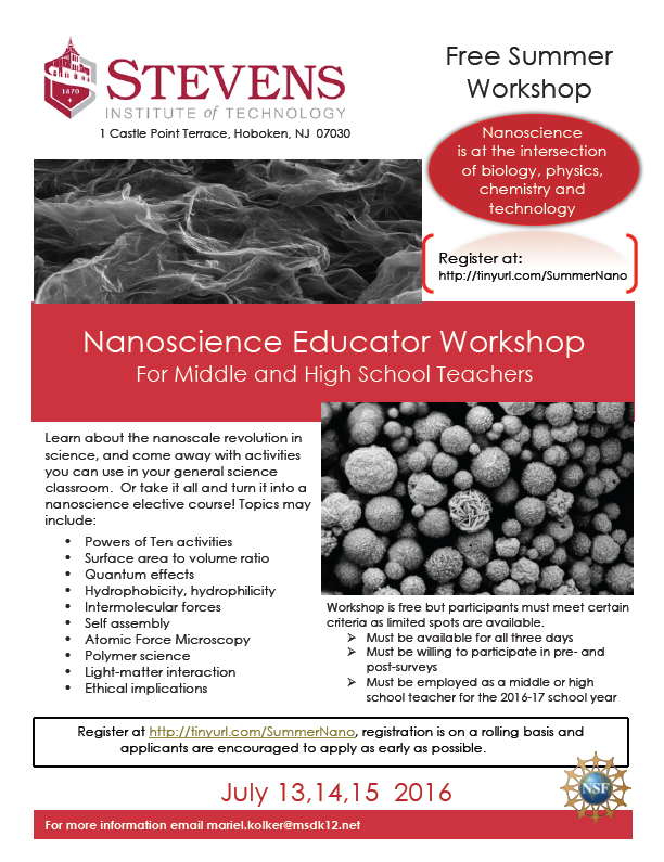 Free Summer Workshop - Nanoscience Educators- flier